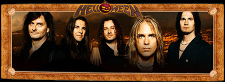 Helloween live in Nuremberg 2006.From left to right: Sascha Gerstner, Markus Grosskopf, Andi Deris, Michael Weikath and Daniel Löble (back).